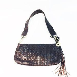 THE SAK Sm Brown Leather Woven Shoulder Bag Brass